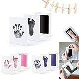 feihao Baby Handabdruck und Fußabdruck Set in 3 Farben,sauber Touch Baby Handabdruck und Fußabdruck,mit Papier-Fotorahmen, Karten, klammern und Seil(Schwarz + Rosa + Blau)