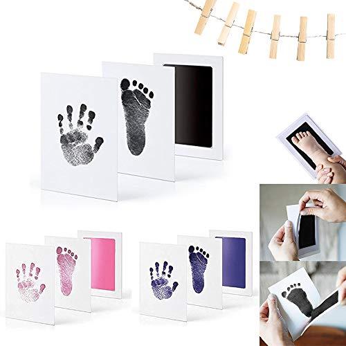 feihao Kit de Huella Bebe Pie y Manos,Almohadilla de Tinta para Bebes,Juego de impresión para bebé,Bebé Kits de Impresión de Huellas De Mano Y Pies,Regalos para Bebé Recién Nacido,3pc