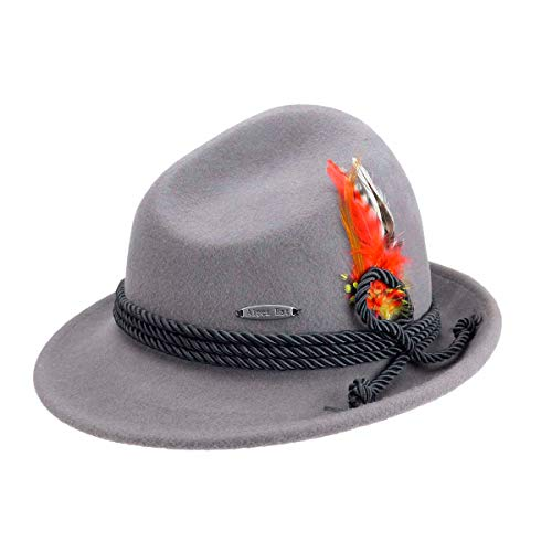 Traditional Bavarian German Wool Fedora Gray Hat with Rope & Deluxe Feather by E.H.G. |Large|Hat for Men and Hat for Women