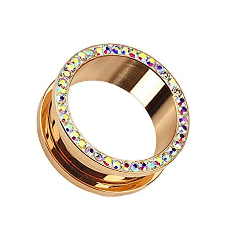 Coolbodyart Tapsi´s Flesh Tunnel Schraubverschluss Edelstahl Chirurgenstahl 316L Kristall Rose Gold 3mm