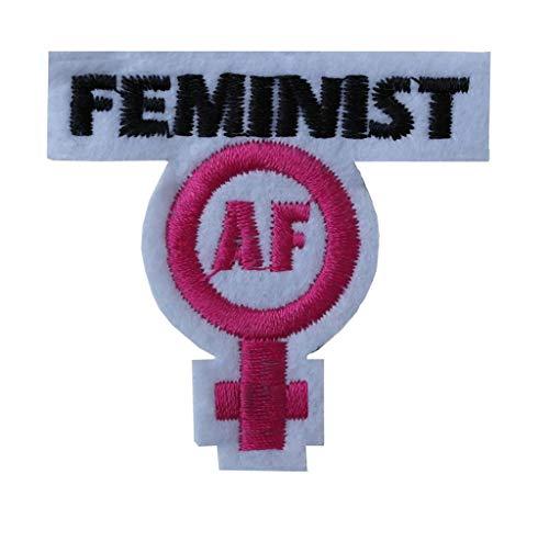 Parche bordado con el texto Feminist AF, para coser o planchar, transferencia del poder femenino, derechos de las mujeres