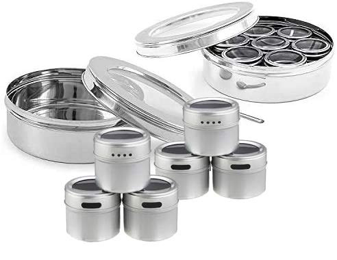 King International Stainless Steel Indian spice box, Indian Masala See Through Spice Shakers, masala box, steel masala dabba, Spice organizer with 7 spice containers size 8 X 8 inches.