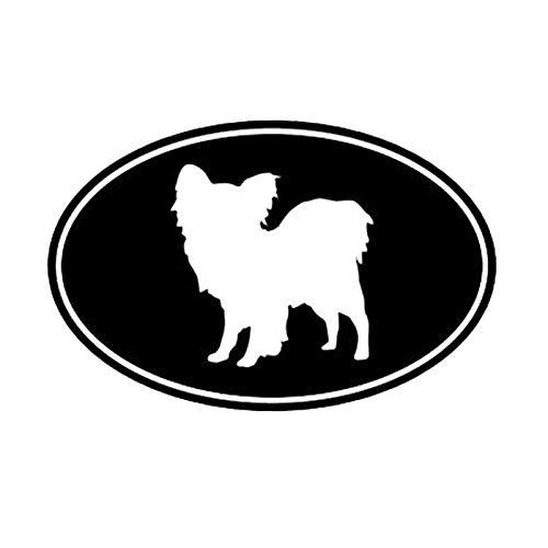 SHMAZ 12,7 * 8,3 Cm Papillon Perro Pegatina Ovalada para Coche Bonita Decoración De Dibujos Animados Divertidos Calcomanías De Motocicleta Negro/Plateado