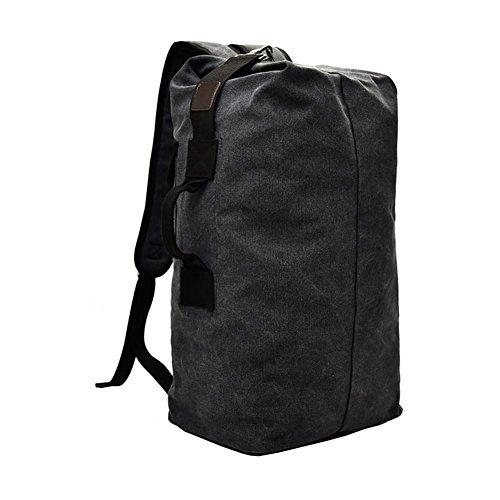 VRIKOO Cylinder Canvas Travel Backpack Large Capacity Duffel Shoulder Bag Outdoor Sport Hiking Rucksacks (Noir)