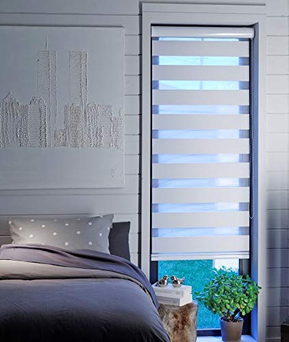 MADECOSTORE Store Enrouleur Jour Nuit Semi-Coffre Blanc - Blanc - L126 x H220cm