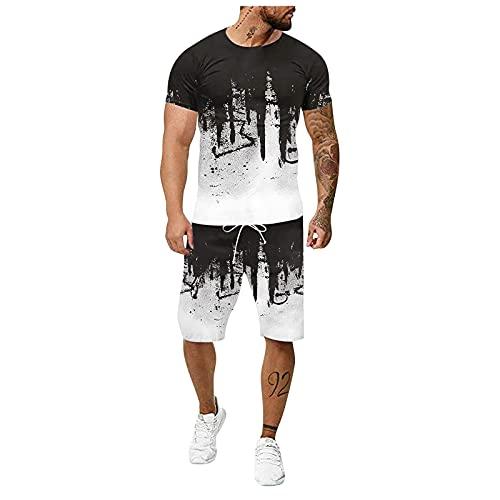 Chandal Hombre Completo Verano Ropa Deportiva Hombre Casual De Dos Piezas De InyeccióN De Tinta 3D De Gran TamañO Camiseta + Pantalones Cortos Deportivos Moda Casual Hip hop