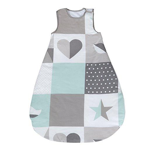 Saco de dormir de 90 cm para bebes roba, utilizable durante todo el año, fabricado en algodón transpirable, unisex, colección textil de roba 'Happy patch verde'