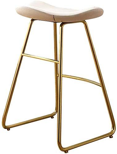 WWWWWWW-DENG barkruk met hoge rugleuning, eetkamerstoel voor keuken en eetkamer, van PU-leer met kussens en metalen poten