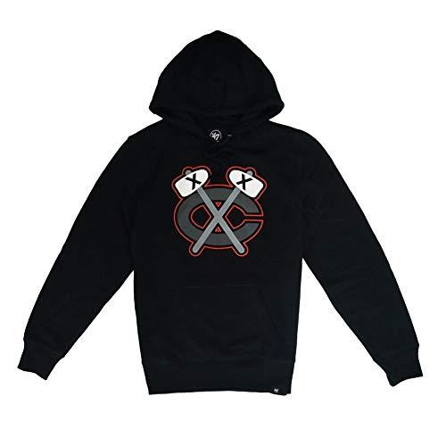 47 Forty Seven Brand Chicago Blackhawks Imprint Headline Hoody Jet Black Mens Kapuzenpullover Herren