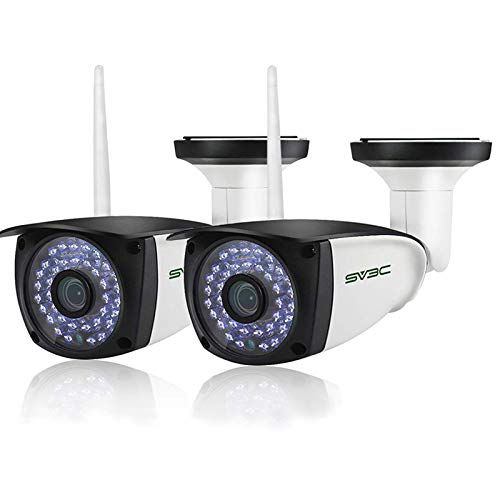 5MP Outdoor Security Cameras set of 2, SV3C WiFi Wireless 2-Way Audio IP Camera, Super HD Humanoid Motion Detection Home Camera, Weatherproof CCTV Cameras for Outside Indoor, Support Max 128GB SD Card