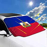 Haitian Flag ハイチの国旗 サンシェード 車 フロント 折りたたみ式 遮光 断熱 凍結防止 防水 雨/雪/埃/日/落葉 カーサンシェード 自動車 軽自動車 四季対応 外装 便利グッズ 丈夫で長持ち (147×118CM)