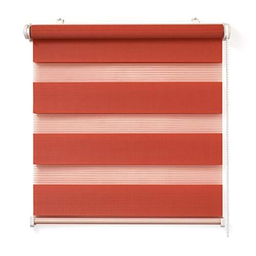 Doppelrollo, Rot, 80x150cm - Duo-Rollo Klemm Fix mit Klemmträger, Fenster-Rollo/Seitenzug-Rollo Ohne Bohren, lichtdurchlässig und verdunkelnd
