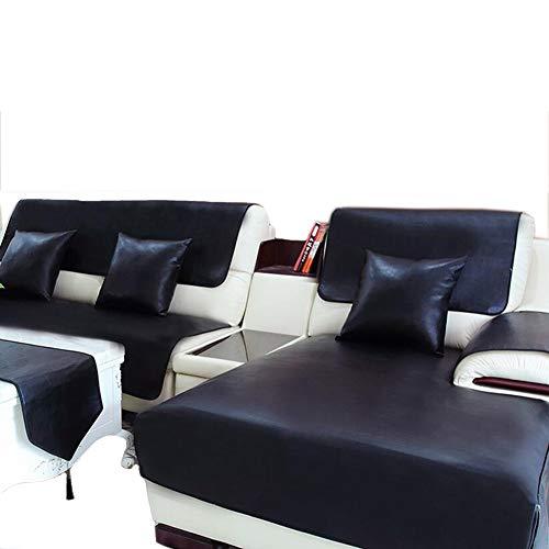 Yuany Funda de sofá 100% Impermeable Antideslizante Sofá de Cuero Cuson Pet Pad Funda de Muebles - Negro, 90 * 180Cm