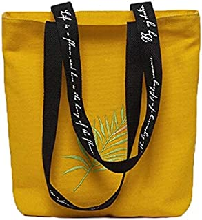 YKDY Shoulder Bag Ladies Print Hand Canvas Beach Shoulder Bag Women Messenger Tote Bag Female Handbag(Black) (Color : Yellow)