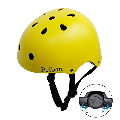 Peiban Skateboard Helmet Certified CPSC AdultampKids Adjustable Dial Helmet with Multi ColosampSizes for Bike Skate Skateboard Scooter Yellow S