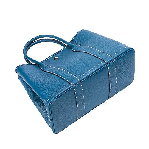 aidayi ハンドバッグ レディース トートバッグ 手提げバッグ 高級牛革 多色 おしゃれ お出かけ 便利 (ブルー)