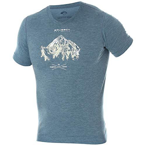 BRUBECK T-Shirt Herren 27% Merino Wolle | Short Sleeve Shirt Men | Sport Funktionsshirt für Jungen Männer | Outdoorshirt atmungsaktiv nahtlos I mit Aufdruck I SS12650, Gr. M - Blaue Jeans