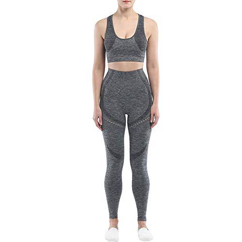 2 Piezas Yoga Traje De Deporte para Mujer Conjunto Transparente Trajes De Yoga Entrenamiento De Talle Alto Establece Las Polainas De Los Crop Top (Gris Oscuro S)