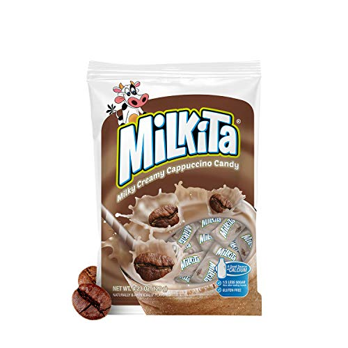 Milkita Creamy Shake Candy Bag, Gluten Free Chewy Candies with Calcium & Real Milk, Zero Trans Fat, Low-Sugar, Cappuccino Flavor, 30 Pcs
