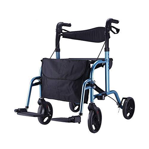 SED Trolley Auxiliar Sillas de Ruedas Trolley de Aluminio Cochecito Walker Plegable con Bolsa de Almacenamiento Asistencia para Caminar Carros de Utilidad,Negro