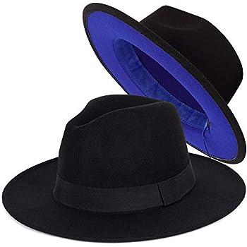 FADACHY Trendy Fedora Felt Hat Wide Brim Wool Hat Dress Panama Hat Two Tone Blue Bottom Black