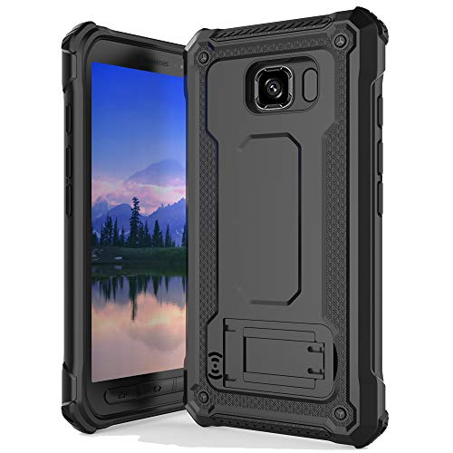 Anccer Armor Series for Samsung Galaxy S6 Active Case with Kickstand Anti Shock Dual Layer Anti Fingerprint Protective Cover for Galaxy S6 Active (Not Fit for Galaxy S6) - Black