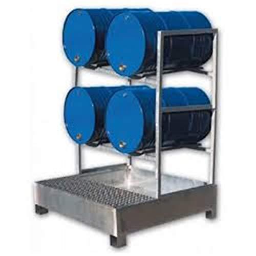 SSI Cubeto Retención Acero Galvanizado con Soporte Alto para 4 bidones de 200 litros