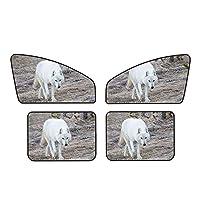 白いオオカミ 車の窓のサンバイザー車のサンバイザー4ピースセット遮光カーテン車の日よけuv保護着脱が簡単日よけと断熱材室内装飾マグネット日よけ