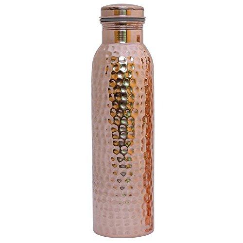 Reise-Wasserflasche aus reinem Kupfer, für ayurvedische Gesundheit, fugenfrei, auslaufsicher, gehämmert Sale for - 1 Piece