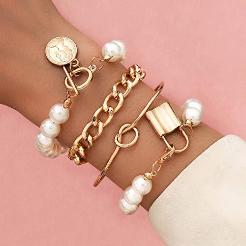 Handcess Pulseras de perlas bohemias con cierre de oro y monedas para cabeza humana, cadena de mano punk, accesorios para mujeres y niñas (4 piezas)