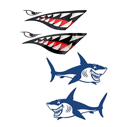 perfk 2 Pares De De Tiburón Boca Gráficos De Vinilo A Prueba De Agua Pegatina para Kayak, Canoa, Pequeño Barco De Pesca, Tabla De Surf