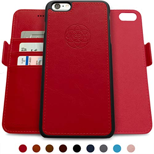 Dreem Fibonacci 2-in-1 Wallet-Case for iPhone 6 & 6s, Magnetic Detachable Shock-Proof TPU Slim-Case, RFID Protection, 2-Way Stand, Luxury Vegan Leather, Gift-Box - Red