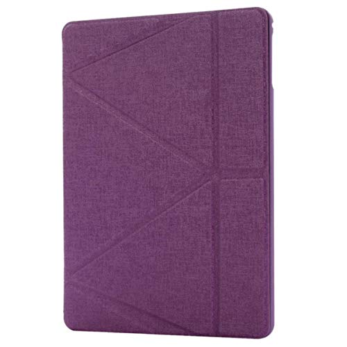 for iPad 9.7 2018 2017 Case with Pencil Holder A1822 A1893 Tablet Silicone Cover for iPad Air 1 9.7 inch +Glass+Pen,Purple