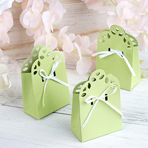 Efavormart 100 Cute Wedding Gift Favor Boxes with Ribbon for Gift Candy Treat Cupcake Packing Box Party Favors - Sage Green