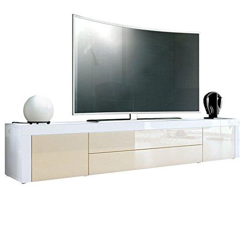 Vladon TV Board Lowboard La Paz, Korpus in Weiß Hochglanz/Front in Creme Hochglanz mit Rahmen in Weiß Hochglanz