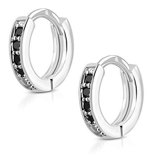 Tata Gisèle - Pendientes de aro de acero inoxidable plateado – 4 pequeños cristales negros