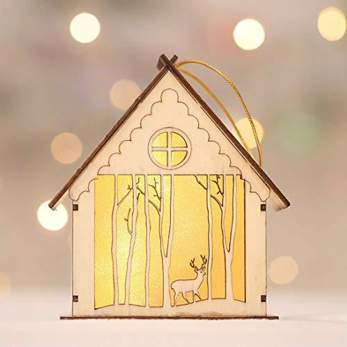 XINFULUK Lámpara de Cabina Luminosa de Madera de Noche LED Adornos para árboles de Navidad Regalos Suministros para Fiestas de Festivales Decoración navideña - Multicolor