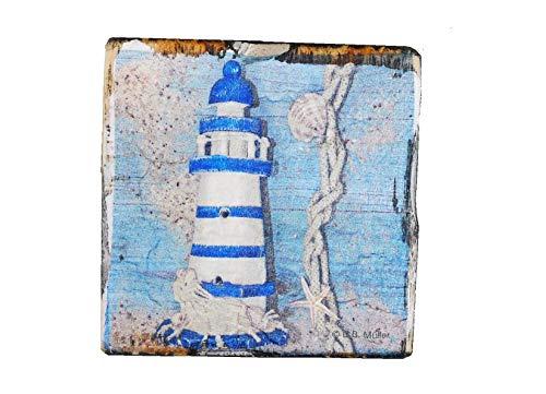 Untersetzer Niederländische Küste aus Kiefernholz |Untersetzer Niederländische Küste 4st | Höhe 1.3 cm |weiß, Blau| Dekorationsartikel für Haus und Garten |