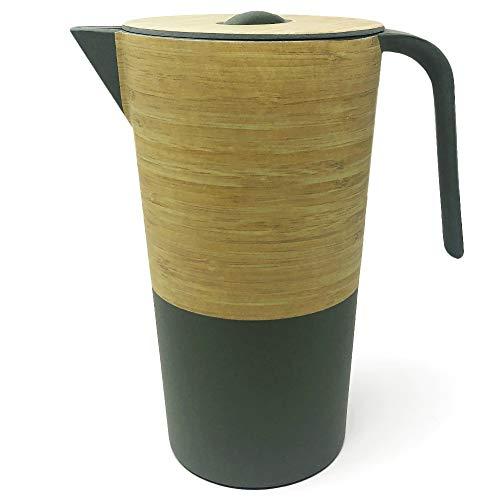 Space Home - Kanne mit Deckel aus Bambus - Wasser Krugg - Getränkekrug - Umweltfreundlichem - Grün