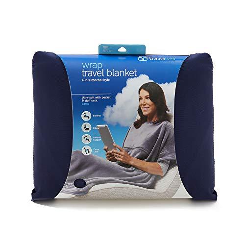 Travelrest® 4-in-1 Premier Class Reisedecke mit Tasche - Lordosenstütze - weich und luxuriös - Stuff Sack enthalten