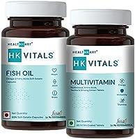 HealthKart HK Vitals Fish Oil with Omega 3 and Multivitamin Combo, For Men and Women, 60 Fish Oil Capsules + 60...