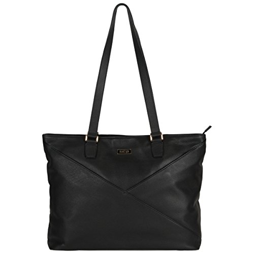 Kenneth Cole Reaction Women's East Bay Babe 15' Laptop & Tablet RFID Business Travel Tote Messenger Computer Bag, Black, Laptop Leather
