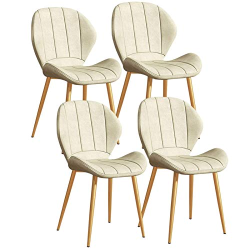 Set of 4 Leather Dining Chairs Kitchen Chairs Vintage PU Back Padded for Dining Room Living Room Office and Lounge (Color : White)