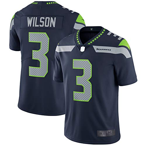 SANXIAN Russell Rugby Trikot Seahawks American Football Jersey Seattle Custom Wilson Sports #3 Vapor Untouchable Limited Player Jersey – College Navy-L