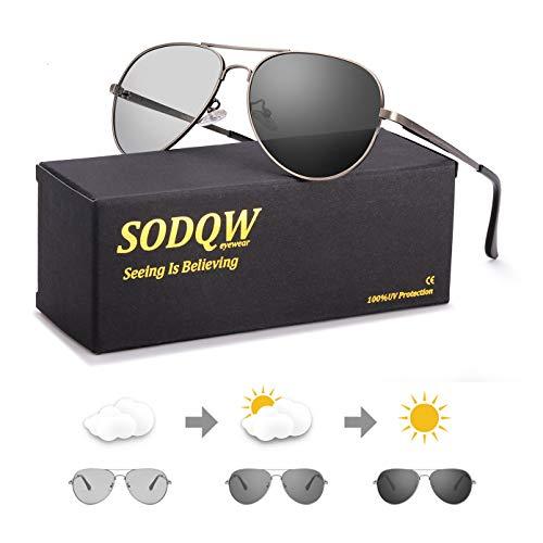 SODQW gafas de sol fotocromaticas polarizadas hombre 100% UVA/UVB Protección (Marco de pistola de gafas polarizadas fotocromáticas)