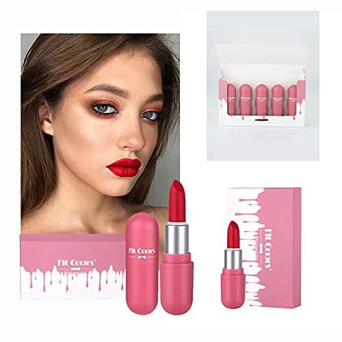 Lippenstift Set Mini Kapsellippenstift 5pc teiliges Lippenstift-Set Box mattes Samt lang anhaltender Mini Lipgloss