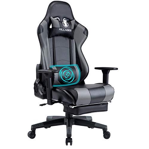 KILLABEE Gaming Stuhl Computerspiel Stuhl mit Fußstütze Racing Stuhl Drehstuhl Bürostuhl Chefsessel Ergonomischer PC Schreibtischstuhl mit Kopfstütze und Massage Unterstützung Lendenkissen, Grau
