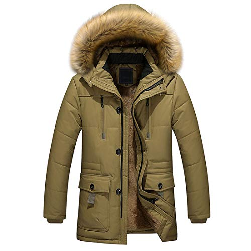 XLDD Men's Winter Padded Coat Outdoor Windproof Jacket Faux Fur Trimmed Warm Thick Hood Coats Classic Mid-Length Parka Jacket Ski Jacket Windproof Fleece Outdoor Outwear with Pockets 3XL