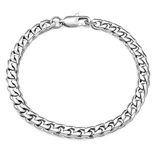 THREE KEYS JEWELRY 6mm 10mm Mens Figaro Chain for Men Cuban Link Chain Stainless Steel Bracelet Gifts Silver Figaro Bracelets for Boys Women