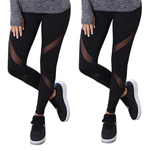 GoVIA 2er Pack Mesh Leggings Damen Sporthose mit Netzeinsätzen Workout High Waist 4107 Schwarz S/M